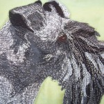 Detail of Kerry Blue terrier applique